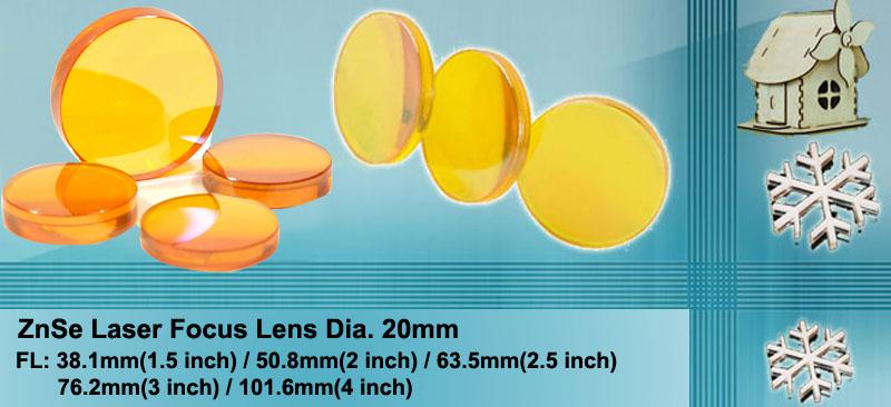 ZnSe Laser CO2 Focus Lens for CO2 Laser CNC Machine Dia20mm FL63.5mm